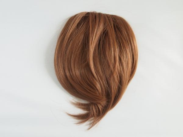 Rovná syntetická clip-in ofina - měděná blond