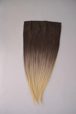 Clip-in umělé vlasy ombré - černá-zlatá blond