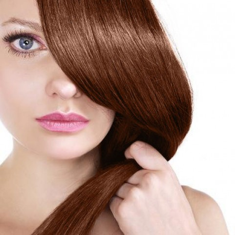 Clip in vlasy - tmavá medená - 30 cm