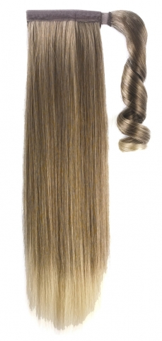 Syntetický clip-in ohon - melír-bledě hnědá blond 55 cm