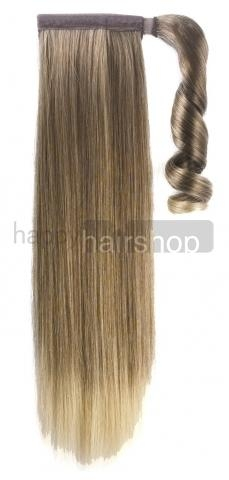 Syntetický clip-in chvost - melír bledohnedá/blond 60 cm