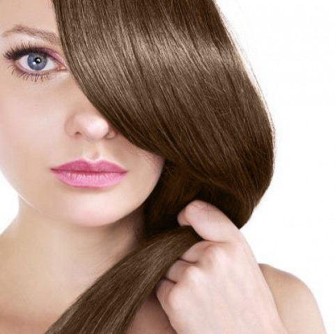 Clip in vlasy - stredne hnedá - 40 cm