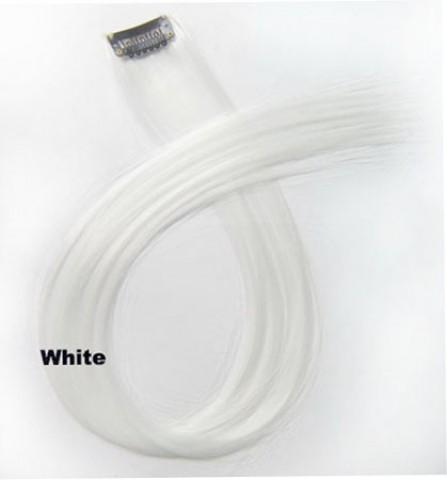 Barevný clip-in pramen - bílý