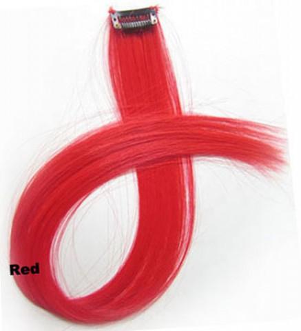 Farebný clip-in prameň - červený