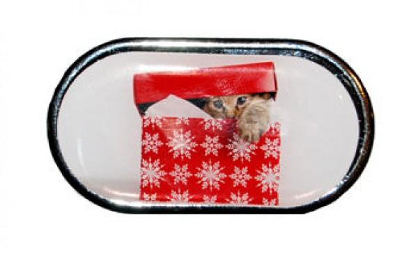 Púzdro so zrkadlom - Vianočné - Mačiatko v krabici