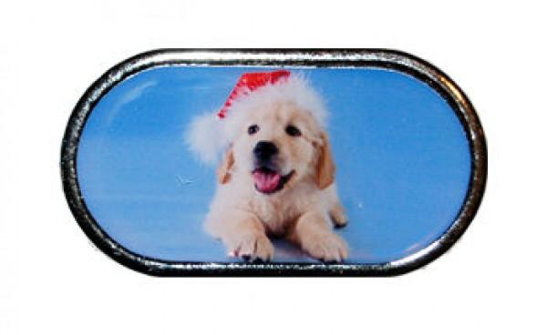 Púzdro so zrkadlom - Vianočné - Šteniatko s čiapkou