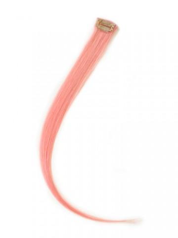 Farebný clip-in prameň zo živých vlasov - svetloružový
