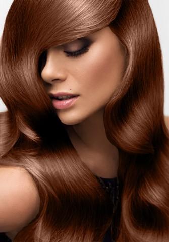 Clip in vlasy deluxe - tmavá medená - 35 cm