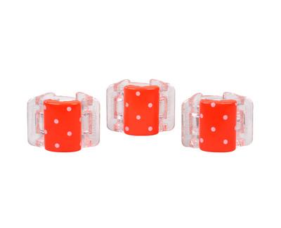 Malý skřipec MINI 3 ks - oranžový s puntíky