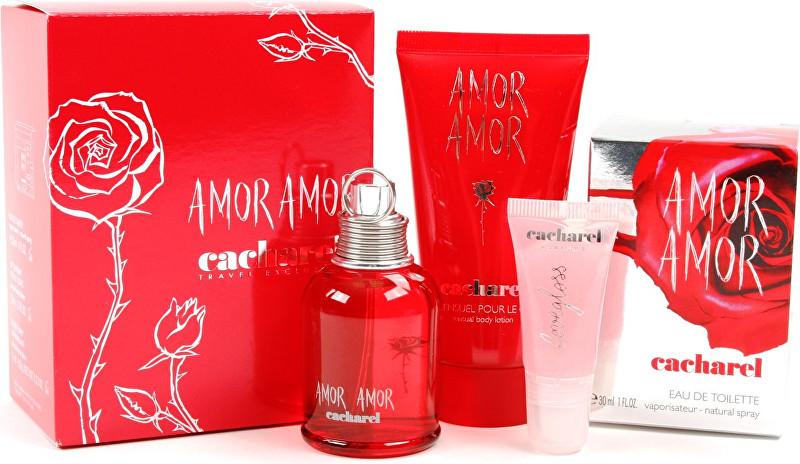 CACHAREL Amor Amor - EDT 30 ml + tělové mléko 50 ml + lesk na rty