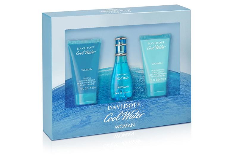 DAVIDOFF Cool Water Woman - EDT 30 ml + sprchový gel 50 ml + tělové mléko 50 ml