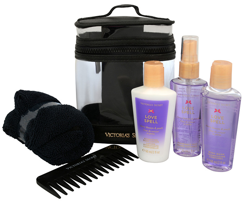 VICTORIA´S SECRET Love Spell - vyživující tělový sprej 60 ml + tělové mléko 60 ml + sprchový gel 60 ml + hřeben + ručník + kosmetická taška