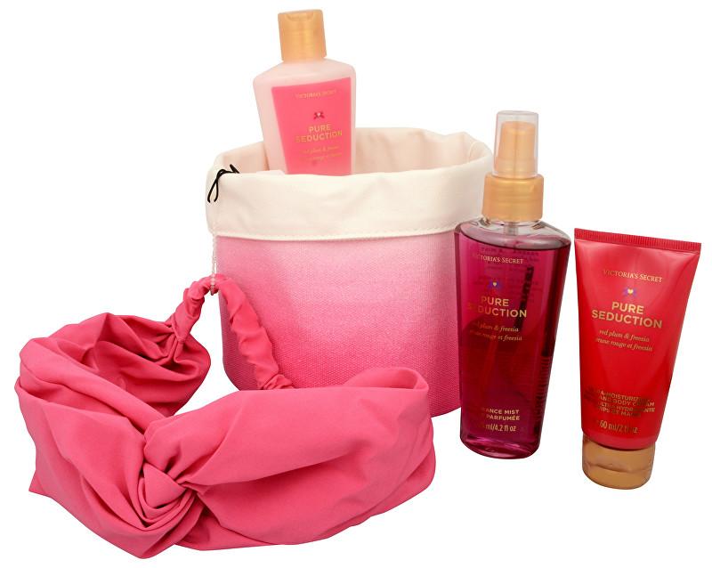 VICTORIA´S SECRET Pure Seduction - tělový sprej 125 ml + tělový krém 60 ml + tělové mléko 125 ml + čelenka + látkový košík