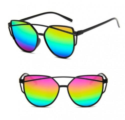 Slnečné okuliare - Cat Eye Aviator style - čierne - dúhové sklá