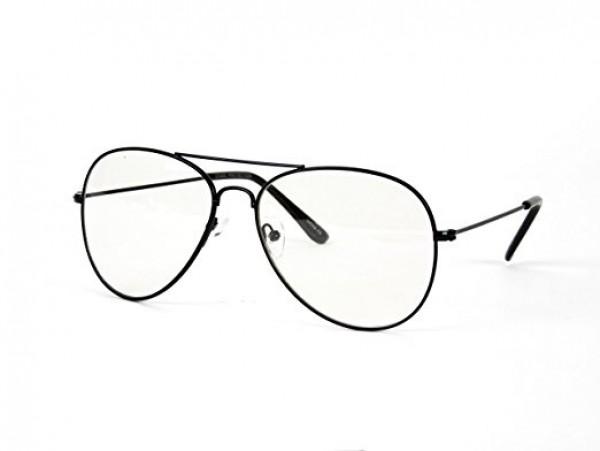 Aviator style - čirá skla s černým rámem