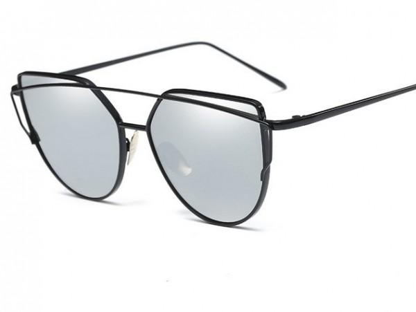 Slnečné okuliare - Cat Eye Aviator style - čierne - strieborné sklá