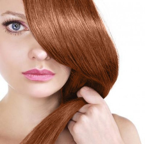 Clip-in vlasy - svetlá medená - 35 cm