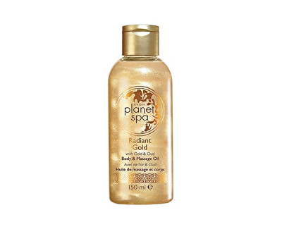 AVON Rozjasňující třpytivý tělový a masážní olej se zlatými částečkami a olejem z agarového dřeva Planet Spa (Body & Massage Oil) 150 ml