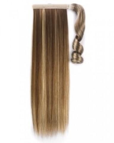 Syntetický clip-in chvost - tmavomedená/platinová blond 60 cm