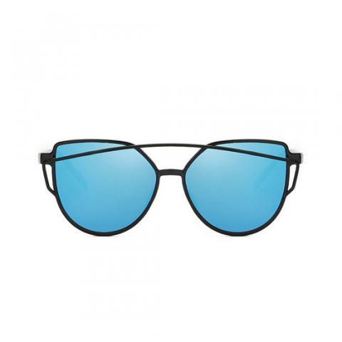 Cat Eye Aviator style - čierne - modré sklá