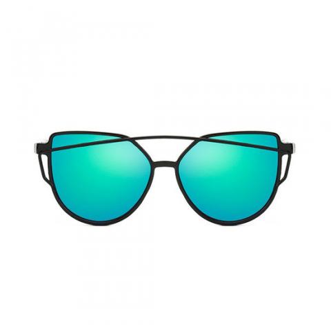Slnečné okuliare - Cat Eye Aviator style - čierne - tyrkysové sklá
