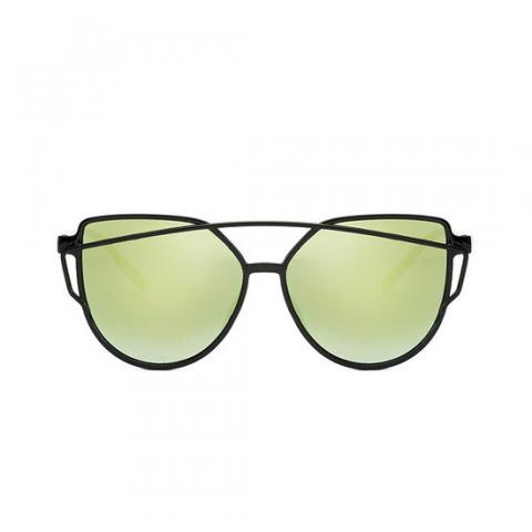 Slnečné okuliare - Cat Eye Aviator style - čierne - zelené sklá