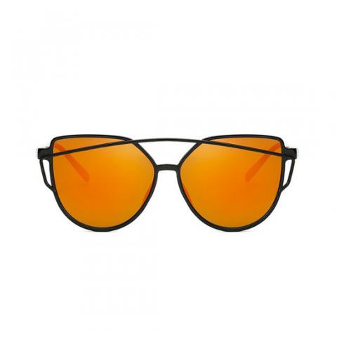 Slnečné okuliare - Cat Eye Aviator style - čierne - oranžové sklá