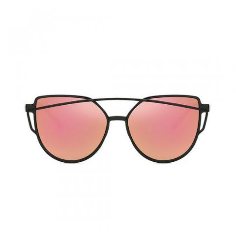 Slnečné okuliare - Cat Eye Aviator style - čierne - ružové sklá