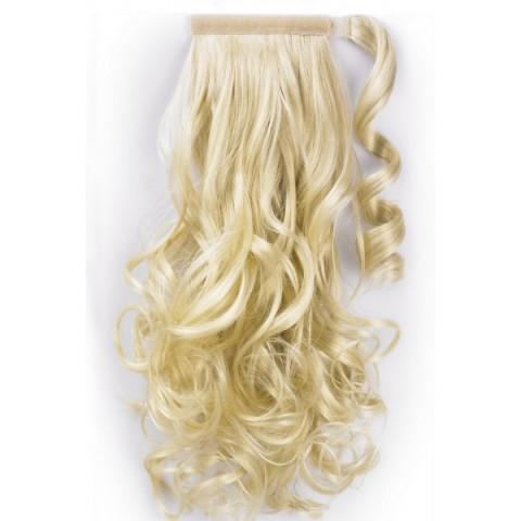 Syntetický vlnitý chvost - platinová blond 60 cm
