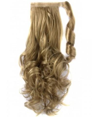 Syntetický vlnitý chvost - tmavá blond/platinová blond 60 cm