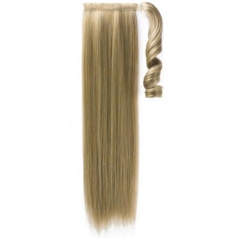Syntetický clip-in chvost - melír - bledohnedá/platinová blond 50 cm