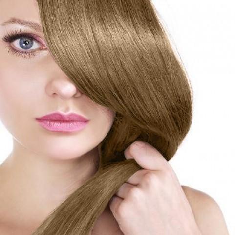 Clip-in vlasy - teplá svetlohnedá/tmavá blond - 35 cm