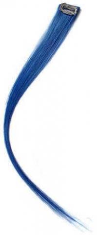 Színes csatos hajtincs emberi hajból - kék