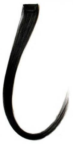 Barevný clip-in pramen ze živých vlasů - černý