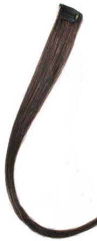 Farebný clip-in prameň zo živých vlasov - tmavohnedý