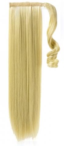Syntetický clip-in chvost - platinová blond 60 cm