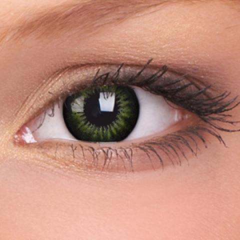 MaxVue Vision Barevní čočkyBig Eyes - Party Green - dioptrické | čtvrtletní, 2 ks - dioptrie: -3.25, zakřivení: 8.60, průměr: 15.00