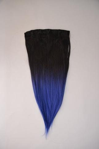 Clip-in umělé vlasy ombré - černo-modré