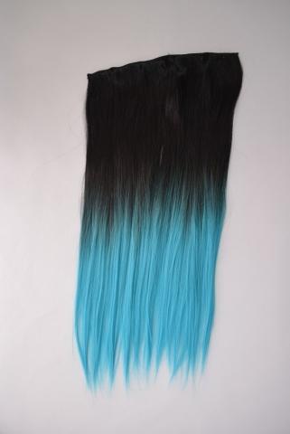 Clip-in umělé vlasy ombré - černo-tyrkysové