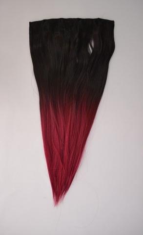 Clip-in umělé vlasy ombré - černo-bordové