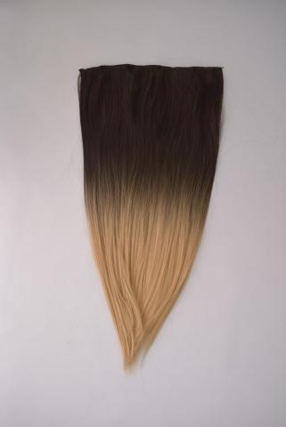 Clip-in umělé vlasy ombré - tmavohnědé-plat.blond