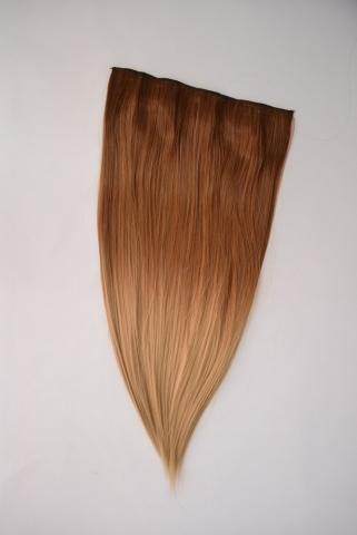 Clip-in umělé vlasy ombré - měděná blond-zlatá blond