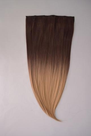 Clip-in umělé vlasy ombré - čokoládověhnědá-zlatá blond