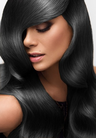 Clip-in vlasy deluxe - čierne - 38 cm