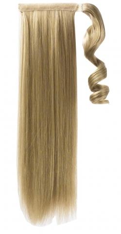 Syntetický clip-in chvost - tmavá blond/platinová blond 60 cm