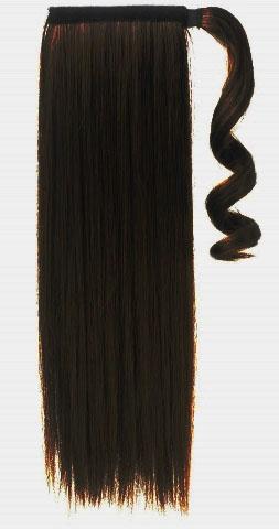 Syntetický clip-in chvost - tmavohnedý 55 cm